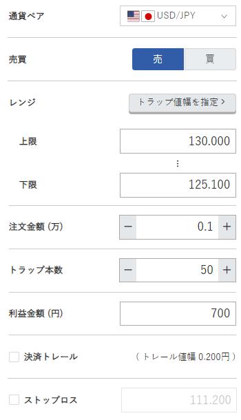 米ドル円売り125円~130円
