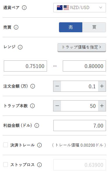 鈴のトラリピ設定-NZドル/米ドル売り0.75ドル-0.80ドル