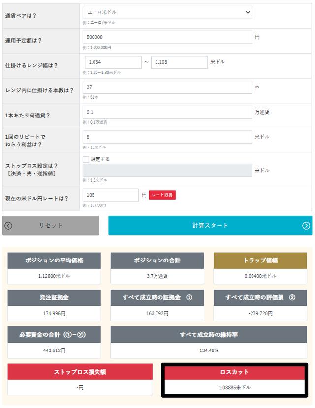 トラリピ運用試算表-トラリピ買い