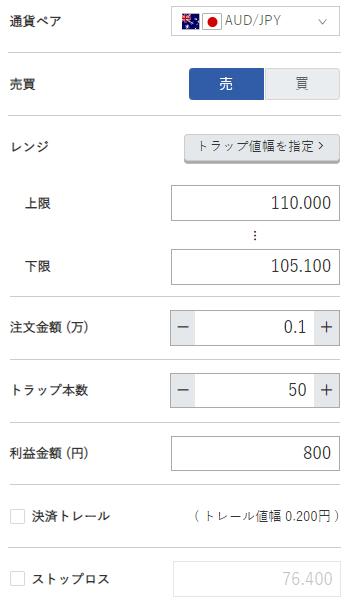 豪ドル円売り105円~110円