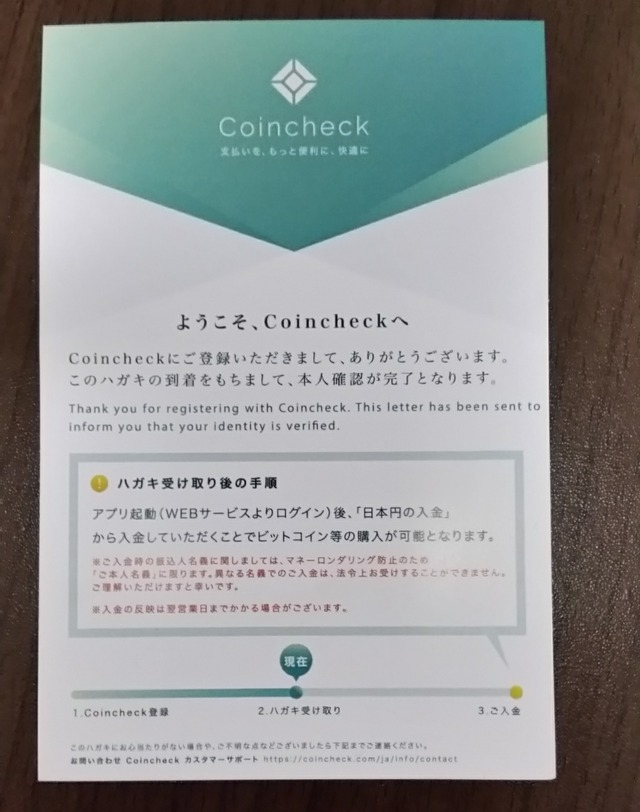 Coincheckのハガキ