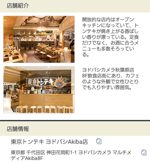 東京トンテキ店舗情報