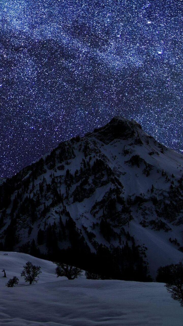夜空に壁紙シリコーンnn Puヒカルpcの雪をかぶった山々 ロック画面の画像 Hdの携帯電話の壁紙 風景 壁紙