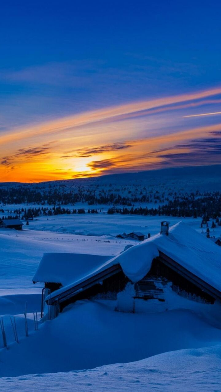 美しい夕日冬の雪の小屋のstussyの壁紙 ロック画面の画像 Hdの携帯電話の壁紙 風景 壁紙