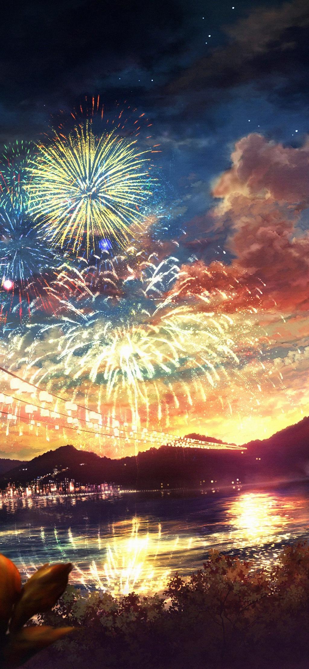 アノン夜ヒカル区ro Suが美しく芸術的なイラスト ロック画面の画像 携帯電話の壁紙を花火 壁紙