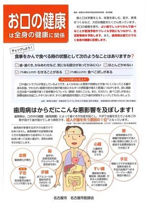 名古屋市医師会『お口の健康は全身の健康に関係』