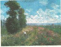 ポプラと草原の散歩道
