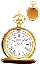 ゴールドカラーの懐中時計で、ふたもついています