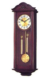 毎正時になると2本の棒リンを同時に打って数取りする木枠の柱時計 シューマス