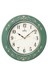 緑木象嵌つき板貼りのセイコー(SEIKO)の電波掛け時計KX333M