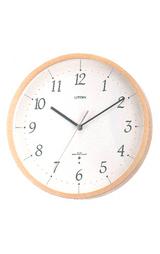 薄茶半艶仕上げの木枠のシンプル&モダンな電波掛け時計