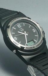 振動付きのアナログ(針)表示の腕時計です