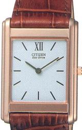 茶色系革バンドとピンクゴールドメッキの薄型エコ・ドライブ男性用腕時計