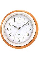 シチズン citizen 優しい木枠と花柄のアクセントの電波掛け時計 アイスタイル4MY752-006