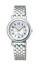 白蝶貝文字板の女性用ソーラー腕時計
