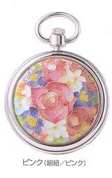 七宝手巻き提げ時計(ピンク) チェーン、組紐(ピンク)付