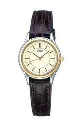 セイコーの革バンドの女性用腕時計スピリットSTTC002