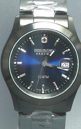 スイスミリタリー(SWISSMILITARY)PVDブラック男性用腕時計ML186