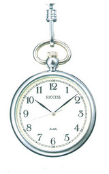 シルバーカラーにオール数字のシンプルな文字板の懐中時計