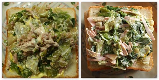 シーチキンとハムとレタスサンドイッチ