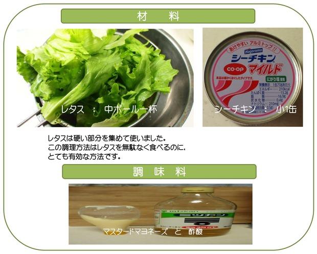レタスとシーチキンのサラダ材料