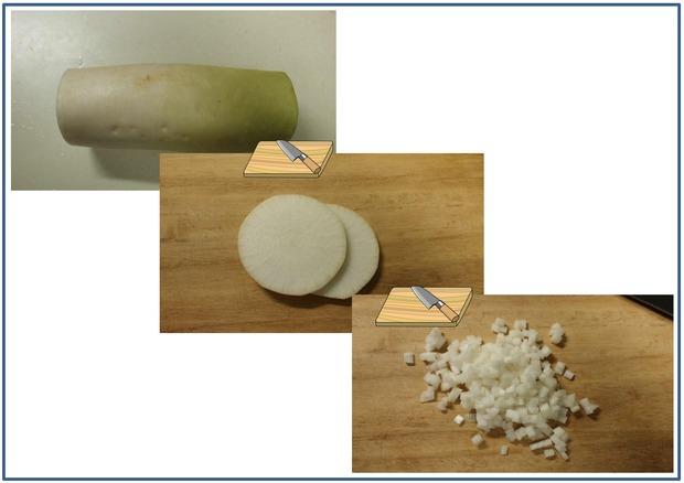 挽き割り納豆と大葉と大根加工