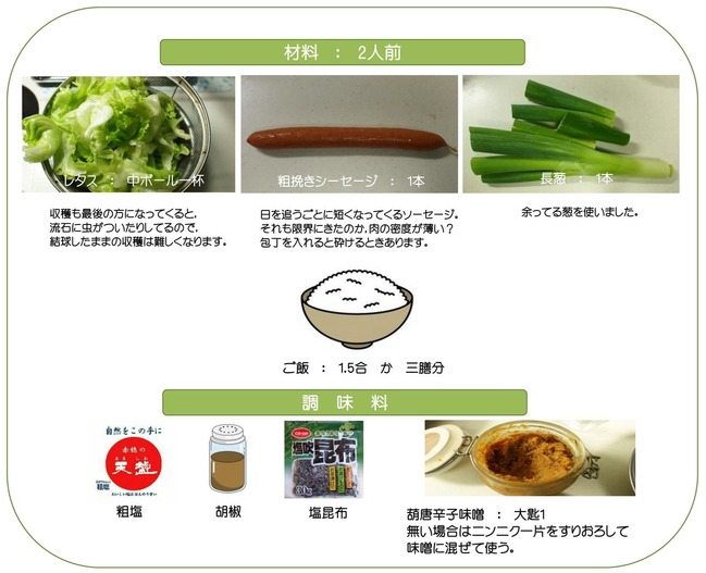 レタスの焼き飯材料