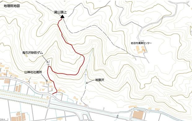 鬼石沢と地獄沢の位置