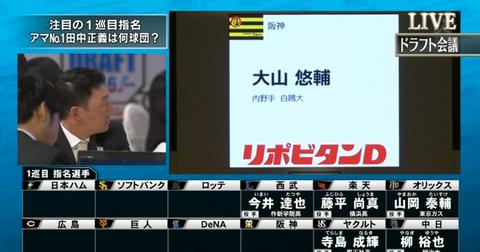 2016ドラフト大山指名時の阪神ファンの様子wwwwwwwwwww