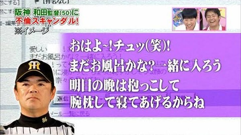岡田→そらそうよ 和田→愛しい奈々 金本→出たわね 矢野→?
