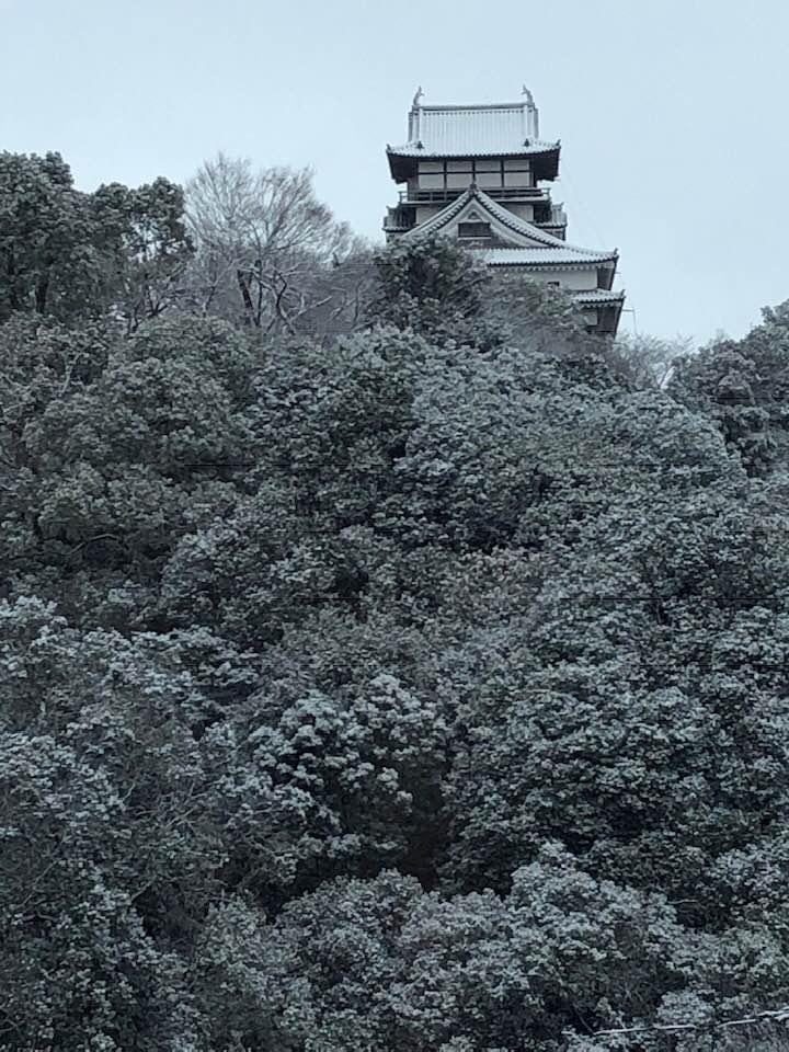 犬山城の初雪