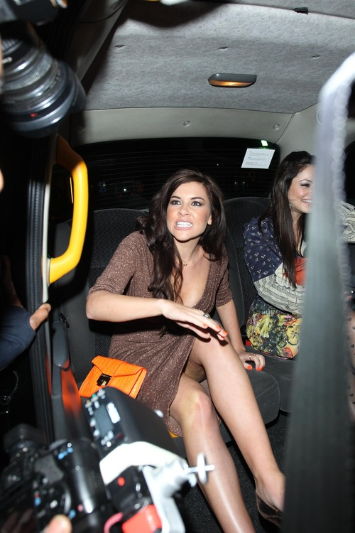 Imogen Thomas Cleavage leaving Novikov restaurant  (2)