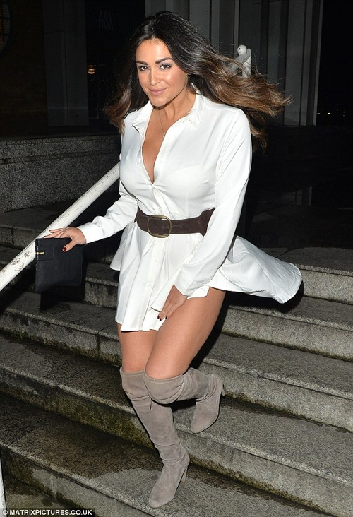 Casey Batchelor – Windy Upskirt in London, October 19, 2016