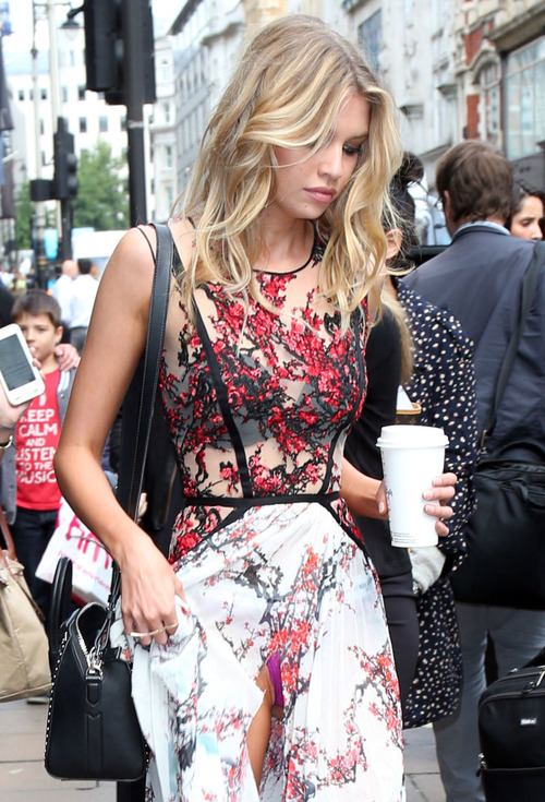 Stella Maxwell - Panty peek leaving Fortnum & Mason in London - 8-12-15