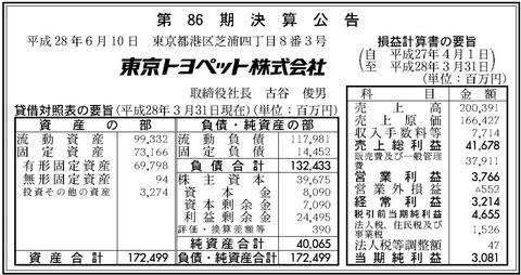 東京トヨペット決算