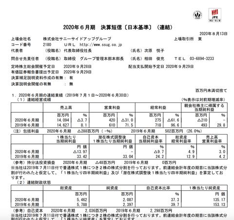 サニーサイドアップグループ 2020年6月期通期決算