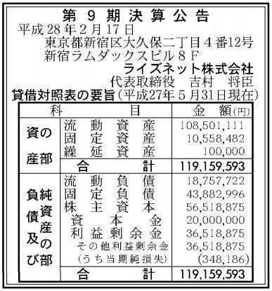 ライズネット_業績