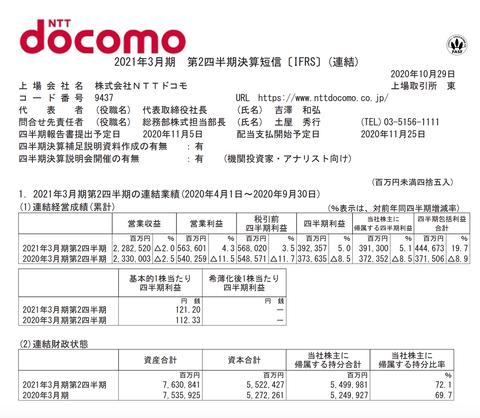 NTTドコモ 2021年3月期第2四半期決算