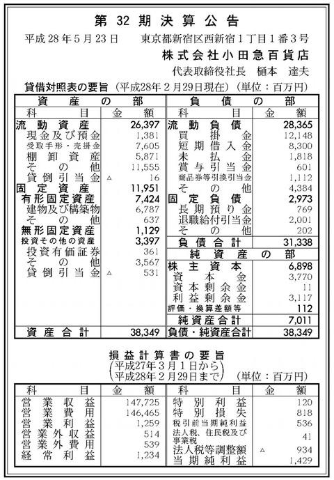 小田急百貨店決算