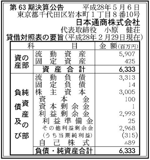 日本通商決算