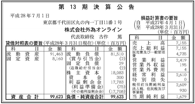 官報ブログ : 外為オンライン 決算公告(第13期)