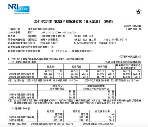野村総合研究所 2021年3月期第2四半期決算