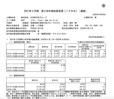 日本取引所グループ 2021年3月期第2四半期決算