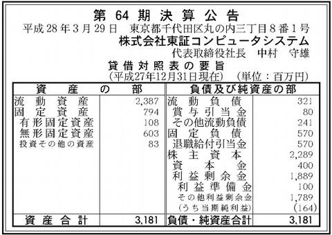 東証コンピューター決算