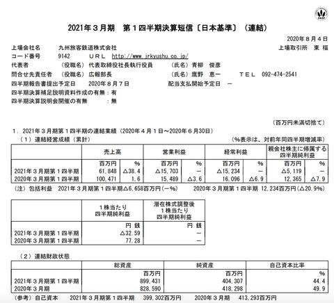 JR九州 2021年3月期第1四半期決算