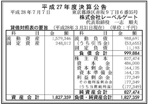 官報ブログ : 音楽DLサービス「mora」運営の レーベルゲート 決算公告(平成27年度)