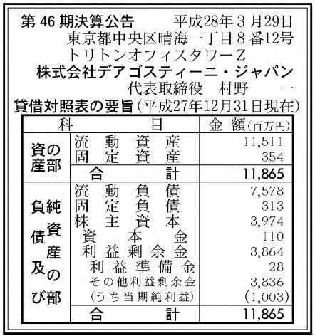 デアゴスティーニジャパン決算