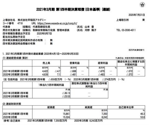 早稲田アカデミー 2021年3月期第1四半期決算