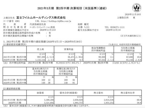 富士フイルムホールディングス 2021年3月期第2四半期決算