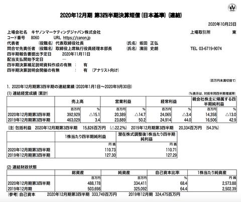 キヤノンマーケティングジャパン 2020年12月期第3四半期決算